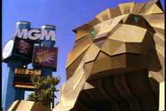 The MGM Grand Hotel, Las Vegas, detail of  huge lion entrance, shot in 1995 Stock Footage