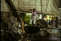 The Pirate Battle on Buccaneer Bay at Treasure Island Hotel, Las Vegas, Nevada Stock Footage