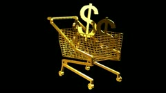 Gold shopping cart Stock Footage