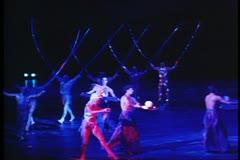 Cirque de Soleil, Mystere, three jugglers, Las Vegas, Nevada Stock Footage