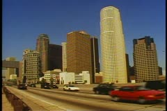 Los Angeles, California skyline with The Harbor Freeway traffic in the Stock Footage