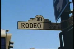 Rodeo Drive street sign, zoom in, Beverly Hills, California Stock Footage