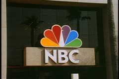 NBC Studios, close up of sign, no people or traffic, Burbank, California Stock Footage