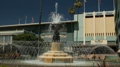 Fountain at Santa Anita Racetrack Stock Footage