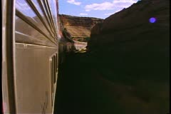 "Amtrak's ""Southwest Chief"" POV silver streamliner train, sunset, wide shot Stock Footage"