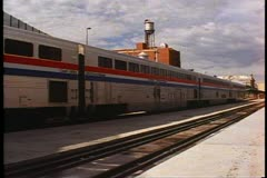 "Amtrak's ""California Zephyr"", train backing into Denver's Union Station - stock footage"