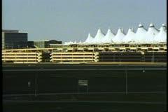 DIA, Denver International Airport, wide shot, pan right, Denver, Colorado Stock Footage
