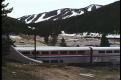 "Amtrak's ""California Zephyr"" streamliner train exiting the Moffet Tunnel Stock Footage"