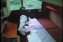 """California Zephyr"", Sleeping Car, sleeping car attendant makes up the berths Stock Footage"