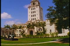 Beverly Hills City Hall, no traffic or people, Spanish Mission architecture Stock Footage