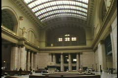 Chicago's Union Station on North Canal Street, Interior, Great Hall,, Chicago Stock Footage