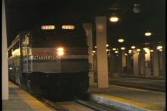 "The Locomotive of Amtrak's ""California Zephyr"" pulls out at Union Station Stock Footage"