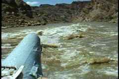 Rafting on The Colorado River, POV from bow of raft on rapids in Colorado River Stock Footage