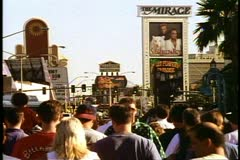 The Las Vegas Strip, Las Vegas, Nevada, people, crowds, shot in 1995 Stock Footage