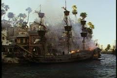 The Pirate Battle on Buccaneer Bay at Treasure Island Hotel, Las Vegas, Nevada - stock footage