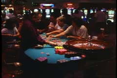 Casino Interior, roulette wheel and spinner, Las Vegas, Nevada Stock Footage