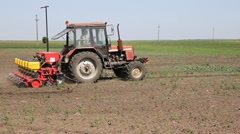 Farmer sowing corn Stock Footage