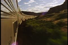 "Amtrak's ""California Zephyr"", POV out of train window, retreating, Mesa, desert Stock Footage"