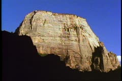 Zion National Park in Utah, vista, no people, Gibraltar-like cliff and mesa Stock Footage