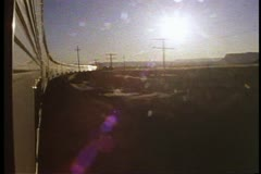 "Amtrak's ""California Zephyr"", POV out the train window, silver streamliner train Stock Footage"