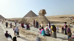 Tourists at the Sphinx, Pyramids, Cairo. Egypt. Stock Footage