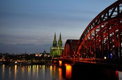 Cathedral cologne Hohenzollern bridge - stock photo