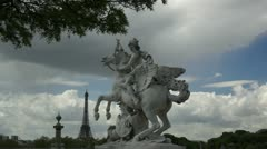Statue of Perseus and tour eiffel on place de la Concorde in Paris in France Stock Footage