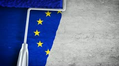 Painting flag on the wall - EU Stock Footage