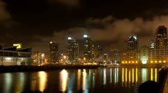 Night San Diego city time lapse with buildings and traffic - stock footage