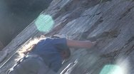Stock Video Footage of Rock Climb Female