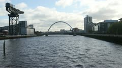 River Clyde with Clyde Arch and crane Glasgow Scotland Stock Footage