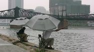 Fishing on the riverside of Tianjin, China Stock Footage
