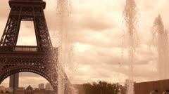Artezian well near Eiffel Tower Stock Footage