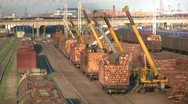 Cranes are unloading timber logs from trains in China Stock Footage