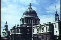 London,   St. Paul's, wide shot, double decker bus passes - stock footage