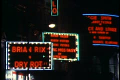 London,  at Night, close up of neon theatre marquee signs - stock footage