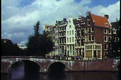 Amsterdam,  The Netherlands, canals and rows of houses, one bridge Stock Footage