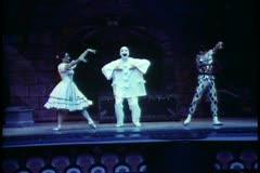 Copenhagen, Tivoli Gardens, Tivoli mime theatre, Harlequin & Columbine Stock Footage