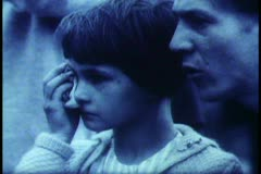 Berlin,  B&W Archival, 1961, face watching sadly, young girl crying Stock Footage