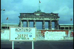 "Berlin,  ""Achtung"" sign, graffiti, Berlin Wall, Brandenburg gate - stock footage"