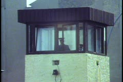 Berlin,  The Berlin Wall in 1988, close up guard tower top Stock Footage