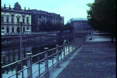 East Berlin, 1988, classical buildings, no people, bleak, canal park - stock footage