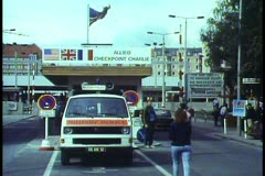 Berlin,  The Berlin Wall in 1988, Checkpoint Charlie, American Zone Stock Footage