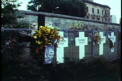 Berlin, Germany, Memorial crosses alongside Berlin Wall Stock Footage