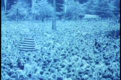 Berlin, Germany, B&W archival 1962, JFK visit, wide shot massive crowd Stock Footage
