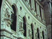 Stock Video Footage of Vienna,  The Hofburg, medium shot, neoclassic facade, tilt down