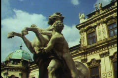 Vienna,  Belvedere Palace, detail with statue - stock footage