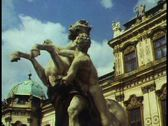 Stock Video Footage of Vienna,  Belvedere Palace, detail with statue