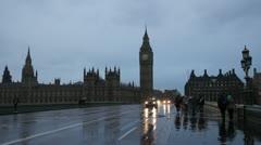 Westminster Bridge on rainy night. Wide. Stock Footage