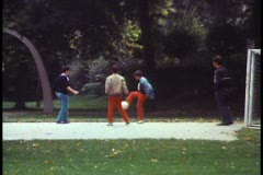 Vienna, Vienna Choir Boys, boys playing soccer outside Stock Footage